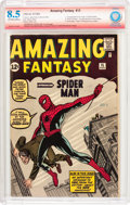 Silver Age (1956-1969):Superhero, Amazing Fantasy #15 Verified Signature (Marvel, 1962) CBCS VF+ 8.5Off-white to white pages....