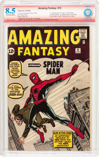 Amazing Fantasy #15 Verified Signature (Marvel, 1962) CBCS VF+ 8.5 Off-white to white pages