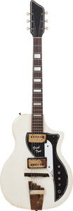 Musical Instruments:Electric Guitars, 1960's Supro Dual Tone Arctic White Solid Body Electric Guitar,Serial # T29694, Weight: 7.5 lbs....