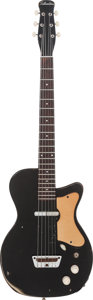 Musical Instruments:Electric Guitars, 1958 Silvertone U-1 Black Solid Body Electric Guitar, Serial #5047, Weight: 5 lbs....