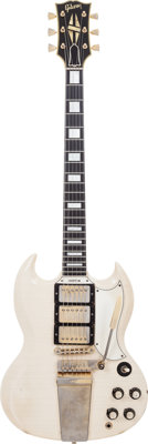 1963 Gibson SG Custom White Solid Body Electric Guitar, Serial # 148256, Weight: 7 lbs