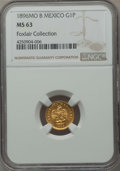 Mexico, Mexico: Republic gold Peso 1896 Mo-B MS63 NGC,...