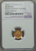 Mexico, Mexico: Republic gold Peso 1884 Mo-M AU Details (Mount Removed,Cleaned) NGC,...