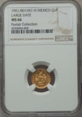 Mexico, Mexico: Republic gold Peso 1901/801 Mo-M MS66 NGC,...