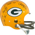Football Collectibles:Helmets, Green Bay Packers HOF Backfield Multi-Signed Full Sized Throwback Suspension Helmet - Hornung, Taylor, Starr....