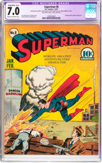 Superman #8 (DC, 1941) CGC Apparent FN/VF 7.0 Slight/Moderate (A-2) Cream to off-white pages