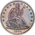 Seated Half Dollars, 1884 50C Repunched Date, WB-102, MS67 PCGS. CAC....