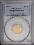Commemorative Gold: , 1926 $2 1/2 Sesquicentennial MS64 PCGS. Boldly struck with bright,frosty luster and pleasing yellow-gold and pink-gold ton...
