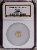 California Fractional Gold: , 1854 25C Liberty Octagonal 25 Cents, BG-105, R.3, MS64 NGC. Asatiny and unmarked greenish-gold near-Gem with lovely eye ap...