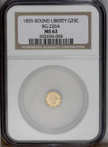 California Fractional Gold: , 1855 25C Liberty Round 25 Cents, BG-226A, R.5, MS62 NGC. Similar toBG-227, but the highest pearls within the coronet are d...