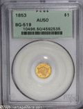 California Fractional Gold: , 1853 $1 Liberty Octagonal 1 Dollar, BG-519, Low R.4, AU50 PCGS.Light wear on the profile, coronet, and bun confirms that s...