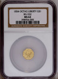 California Fractional Gold: , 1854 $1 Liberty Octagonal 1 Dollar, BG-532, Low R.4, MS62 NGC. Wellstruck with green-gold surfaces that show die striation...