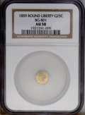 California Fractional Gold: , 1859 25C Liberty Round 25 Cents, BG-801, R.3, AU58 NGC. A smoothapricot-gold piece that has a hint of friction on the bust...