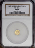 California Fractional Gold: , 1868 25C Liberty Round 25 Cents, BG-806, R.3, MS66 NGC. A beautifulgreenish-gold example, essentially perfect save for som...