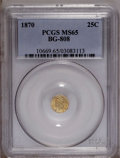 California Fractional Gold: , 1870 25C Liberty Round 25 Cents, BG-808, R.3, MS65 PCGS. Thestraw-gold fields have a light, scattered overlay of darker pa...