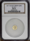 California Fractional Gold: , 1871 25C Liberty Round 25 Cents, BG-813, R.3, MS62 NGC. The centersare not fully brought up by the dies, but this shimmeri...