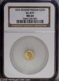 California Fractional Gold: , 1876 25C Indian Round 25 Cents, BG-879, R.4, MS64 NGC. A gentlyshimmering near-Gem with cream-gold toning and an even stri...