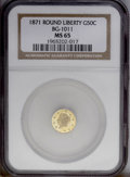California Fractional Gold: , 1871 50C Liberty Round 50 Cents, BG-1011, R.2, MS65 NGC. Beautifulorange and lime-gold tints accompany this lustrous and r...