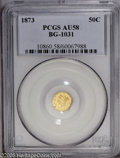 California Fractional Gold: , 1873 50C Liberty Round 50 Cents, BG-1031, High R.6, AU58 PCGS. Aradiant yellow-gold jewel with minor indications of handli...