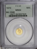 California Fractional Gold: , 1872 50C Indian Round 50 Cents, BG-1048, Low R.4, MS64 PCGS. Flashymirrored fields and frosty devices affirm the eye appea...