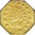 California Fractional Gold: , 1873/2 $1 Indian Octagonal 1 Dollar, BG-1121, Low R.7, MS63 NGC. Aboldly struck and highly attractive example of this rare...