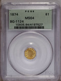 California Fractional Gold: , 1874 $1 Indian Octagonal 1 Dollar, BG-1124, High R.4, MS64 PCGS. Ahandsome orange and olive-gold near-Gem that exhibits a ...