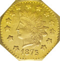 California Fractional Gold: , 1875 $1 Indian Octagonal 1 Dollar, BG-1125, Low R.5, MS62 PCGS.Prooflike and reflective in the fields, and rather well str...