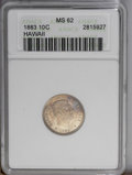 Coins of Hawaii: , 1883 10C Hawaii Ten Cents MS62 ANACS. Occasional splashes ofelectric-blue, gold-brown, and lavender toning visit bright su...