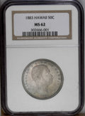Coins of Hawaii: , 1883 50C Hawaii Half Dollar MS62 NGC. Smoky grayish-brown and bluetoning covers most of the well preserved surfaces. Sharp...