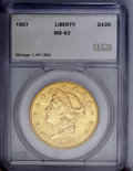 Additional Certified Coins: , 1907 $20 Liberty Double Eagle MS63 SEGS (MS62). Bright yellow-goldsurfaces display some breaks in the luster flow due to a...