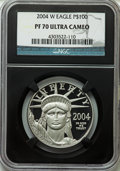 Modern Bullion Coins, 2004-W $100 One-Ounce American Platinum Eagle PR70 Ultra Cameo....