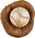 """Baseball Collectibles:Others, 1910 """"Wee Willie"""" Keeler Personal Mini Baseball & Mitt from His Own Testimonial Dinner...."""