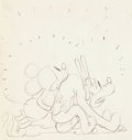 Animation Art:Production Drawing, Mickey Mouse and Pluto Production Drawing (Walt Disney, 1930s)....
