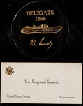 Miscellaneous Collectibles:General, John F. Kennedy: A PT Boat Paperweight Distributed only to 1960Convention Delegates With JFK Business Card. ...