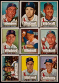 Baseball Cards:Lots, 1952 Topps Baseball Boston Red Sox High Numbers Collection (9)....