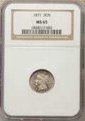 Three Cent Nickels: , 1871 3CN MS65 NGC. NGC Census: (42/14). PCGS Population (41/41). Mintage: 603,000. CDN Wsl. Price for problem free NGC/PCGS...