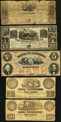 Obsoletes By State:Mixed States, Five Obsolete Notes from Georgia and Tennessee 1836-61... (Total: 5 notes)