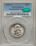 Washington Quarters, 1943-S 25C Doubled Die Obverse, FS-101, MS65 PCGS. CAC....