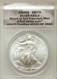 AMERICAN SIVLER EAGLE STRUCK AT SAN FRANCISCO PCGS MS69 FIRST STRIKE S 2013