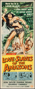 "Movie Posters:Adventure, Love Slaves of the Amazons (Universal International, 1957). Insert(14"" X 36""). Adventure.. ..."