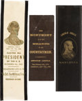 Political:Memorial (1800-present), Abraham Lincoln: Three Gold-Stamped Mourning Ribbons.... (Total: 3 Items)