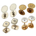 Estate Jewelry:Cufflinks, Art Deco Diamond, Mother-of-Pearl, Seed Pearl, Gold Cuff Links. ...(Total: 8 Items)