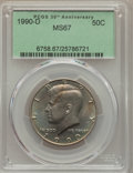 Kennedy Half Dollars, 1990-D 50C MS67 PCGS....