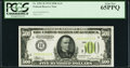 Small Size:Federal Reserve Notes, Fr. 2201-H $500 1934 Light Green Seal Federal Reserve Note. PCGS Gem New 65PPQ....
