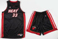 Basketball Collectibles:Uniforms, 1999-2000 Alonzo Mourning Game Worn Shoes and Issued Miami HeatUniform....
