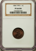Proof Indian Cents, 1886 1C Type One PR66 Brown NGC. NGC Census: (25/7). PCGS Population (29/12). Mintage: 4,290. Numismedia Wsl. Price for pro...