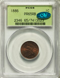 Proof Indian Cents, 1886 1C Type One PR65 Red and Brown PCGS. CAC. Housed in an old green label holder. PCGS Population (76/41). NGC Census: (5...