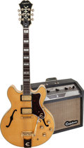Musical Instruments:Electric Guitars, 1966 Epiphone Sheraton Natural Semi-Hollow Body Electric Guitar and Pacemaker Guitar Amplifier, Serial # 408565, Guitar Weight... (Total: 2 Items)