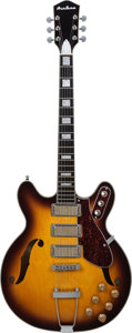 Musical Instruments:Electric Guitars, 2014 Eastwood Airline H77 Sunburst Archtop Electric Guitar, Serial# 1401105, Weight, 5.4 lbs....