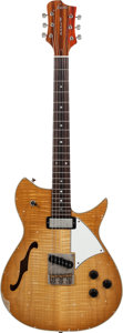 Musical Instruments:Electric Guitars, 2014 Fano RB6 Ice Tea Burst Semi-Hollow Body Electric Guitar,Serial # 511827, Weight: 6.2....